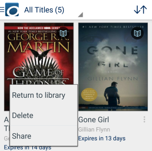 Return, delete, and share options on the app bookshelf. See instructions above.