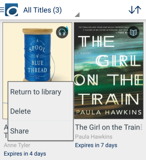 Screenshot showing the return, delete, and share options