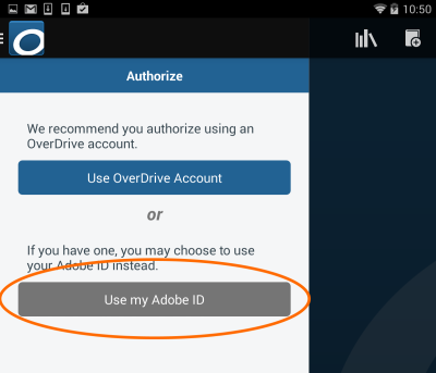 Screenshot of the Use my Adobe ID button in the app settings