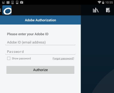 Screenshot showing Adobe Authorization in the app settings