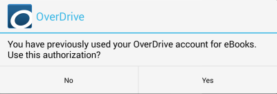Screenshot of the prompt to use your previous OverDrive account to authorize the app