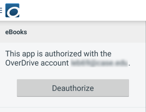 Screenshot of the Deauthorize button in Settings