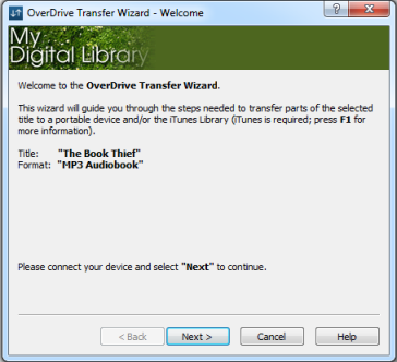 Screenshot of the welcome screen in the transfer wizard