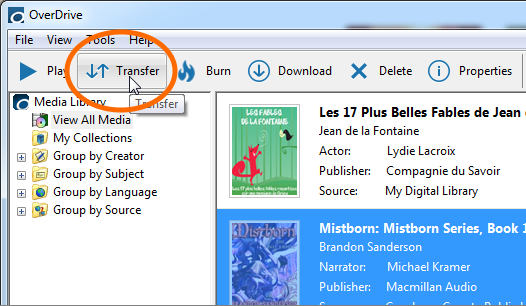 The Transfer button in OverDrive for Windows. See instructions above.
