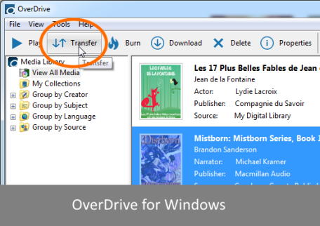Screenshot highlighting the transfer button in OverDrive for Windows