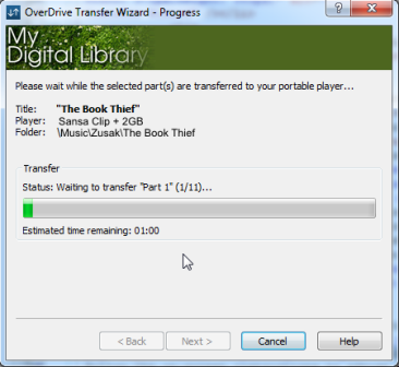 screenshot showing the transfer progress