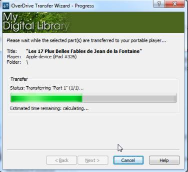 Screenshot of transfer progress