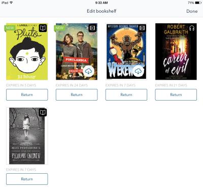 Bookshelf with return options beneath titles.