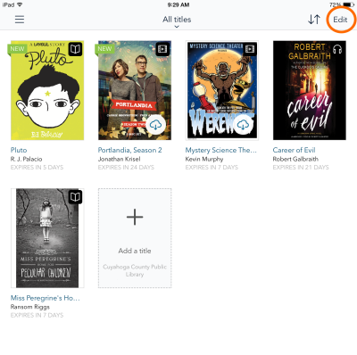 App bookshelf with Edit button highlighted. See instructions above.