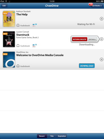 Screenshot of the app bookshelf for legacy versions of OverDrive for iOS