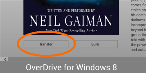 Screenshot highlighting the Transfer button in OverDrive for Windows 8