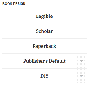 Screenshot of the book design options in OverDrive Read