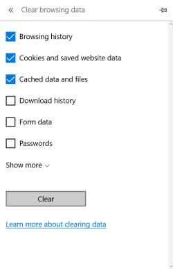 Clear browsing data options