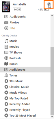 Eject button in iTunes. See instructions above