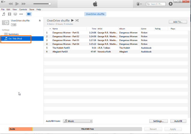 Screenshot showing the On This iPod screen in iTunes