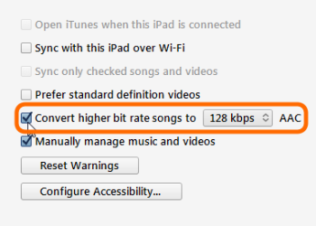 Screenshot of the convert higher bit rate option in iTunes