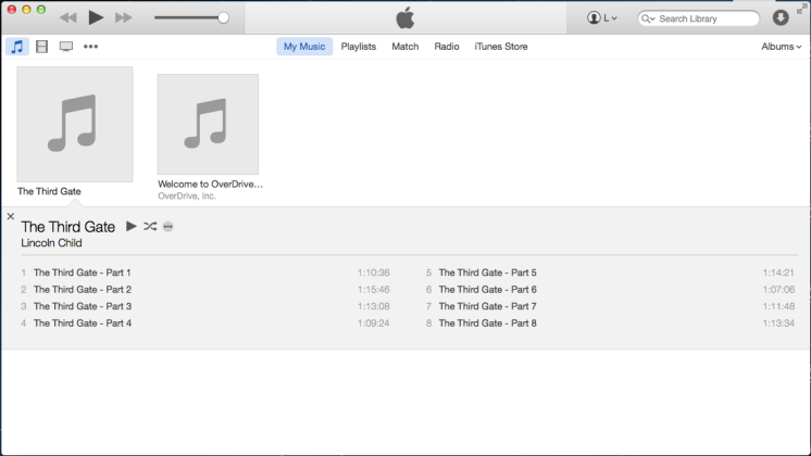 Screenshot of iTunes with imported audiobook