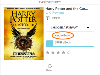 The Kindle Book option for a borrowed eBook. See instructions above.