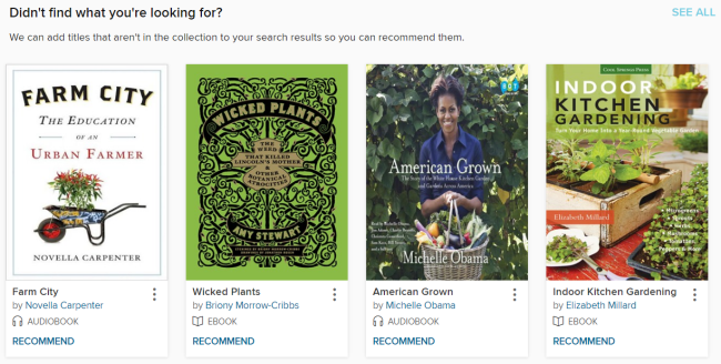 The section of titles that can be recommended to the library on the bottom of a search result page.