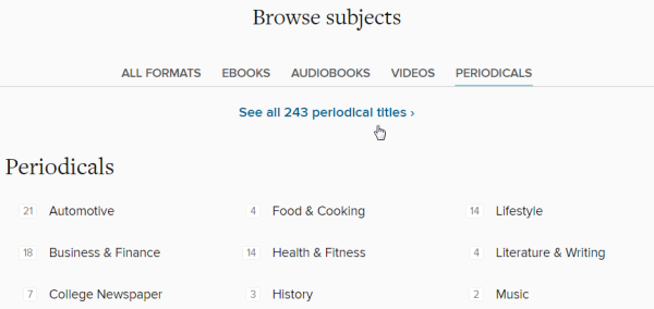The subjects page opened with periodicals selected. See instructions above.