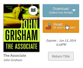 Screenshot of the Read option from the library bookshelf