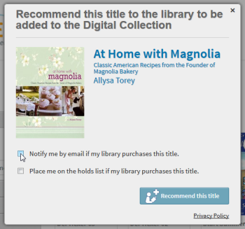 Screenshot of the recommend popup