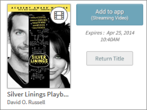 Screenshot of Add to app button for a borrowed streaming video