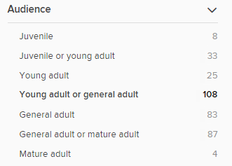 The audience filter with options including Young adult and Juvenile or young adult